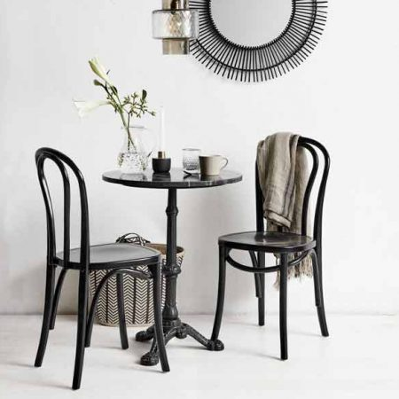 Nordal Cafebord rund i jern m/marmor – sort Ø60
