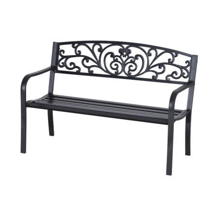 Outsunny 2-Seater Garden Bench, Steel-Black