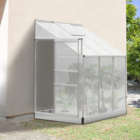 Outsunny 6 x 4FT Aluminum Lean to Garden Sun Greenhouse Enclosure Stable Outdoor Multi-Storage w/Screen 190 x 131 x 215 cm