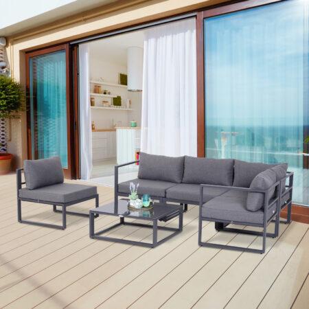 Outsunny 6Pcs Outdoor Sectional Sofa Set Conversation Aluminum Frame w/ Cushion