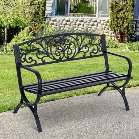 Outsunny Garden Bench, Steel-Black
