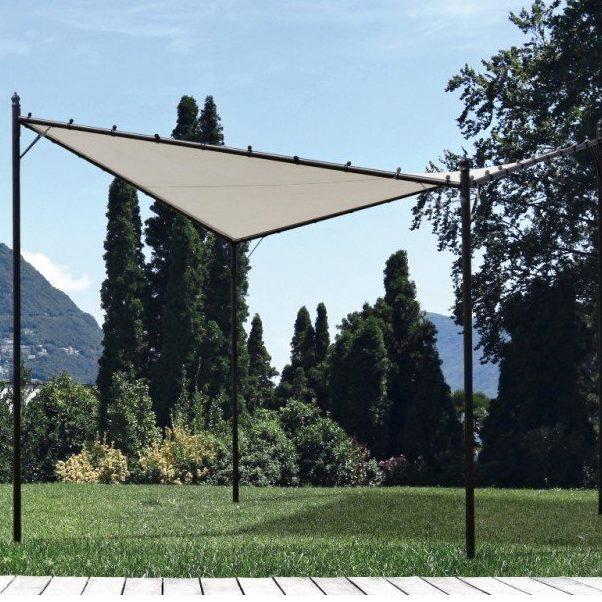 Pavillion med solsejl i stål 350 x 350 cm - Sort/beige