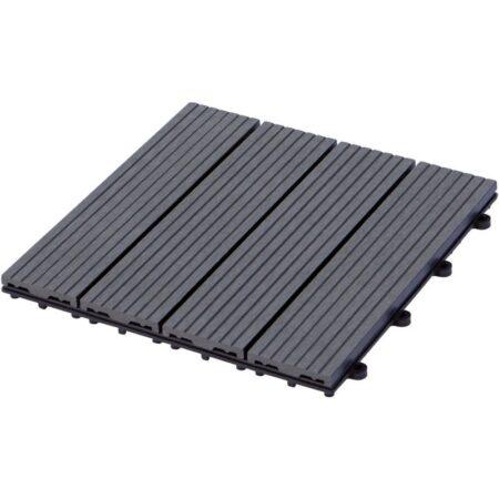 Plus terrassefliser komposit skifergrå 30x30 cm 4stk
