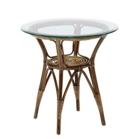 Sika Design Cafebord rattan m/glasplade - 60 antik