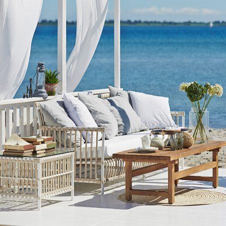 Sika Design Caroline havesofa alu rattan - hvid 3 pers