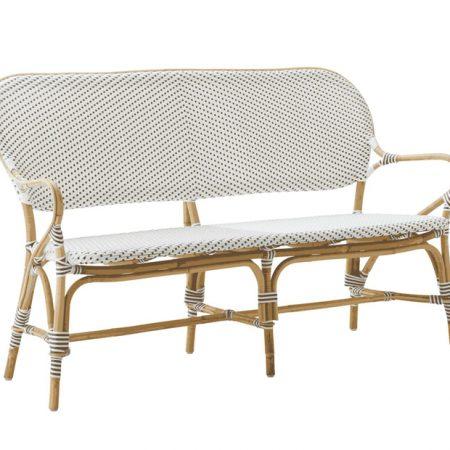 Sika Design Isabell havebænk i rattan - hvid