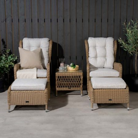 Washington lounge havesæt m. natur hynder og glasbord - natur rattan, VENTURE DESIGN