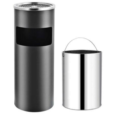 vidaXL askebæger med integreret affaldsspand 30 l stål grå
