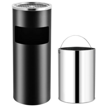 vidaXL askebæger med integreret affaldsspand 30 l stål sort