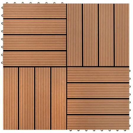 22 stk terrassefliser 30 x 30 cm 2 m2 WPC brun