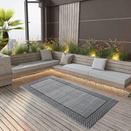 vidaXL udendørstæppe 120x180 cm PP grå