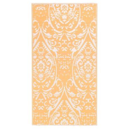 vidaXL udendørstæppe 120x180 cm PP orange og hvid