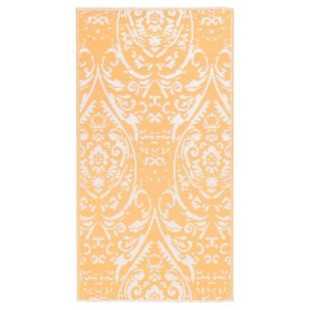 vidaXL udendørstæppe 80x150 cm PP orange og hvid